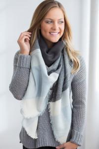 Plaid Blanket Scarf - Light Blue/Charcoal/Ivory