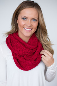 Knit Infinity Scarf - Red - FINAL SALE