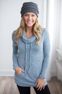 Cowl Neck Drawstring Sweatshirt - Slate