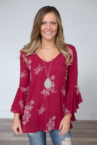 Embroidered Bell Sleeve Blouse - Burgundy