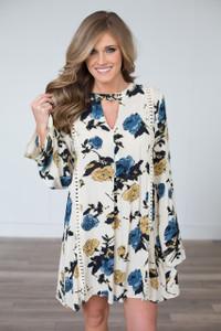 Floral Print Bell Sleeve Dress - Mustard/Cream/Blue