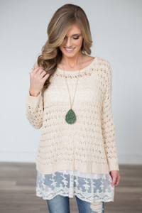 Lace Detail Open Knit Sweater - Cream