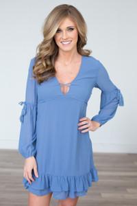 Ruffle Hem V Neck Dress - Blue - FINAL SALE