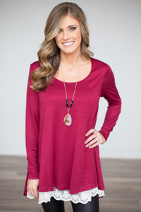 Renew Lace Trim Oversized Tunic - Burgundy - FINAL SALE