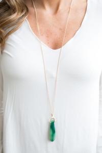 Teardrop Oval Pendant Necklace - Green - FINAL SALE