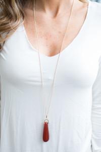 Teardrop Oval Pendant Necklace - Red - FINAL SALE