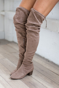 Over the Knee Faux Suede Boot - Taupe- PRE-ORDER