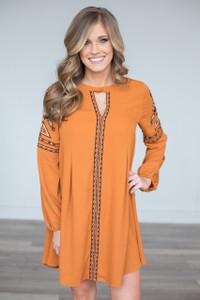 Tribal Print Embroidered Dress - Pumpkin Spice - FINAL SALE