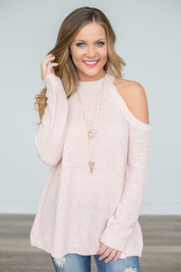 Cold Shoulder Sweater - Blush - FINAL SALE
