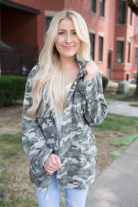 Camouflage Cargo Jacket - Olive