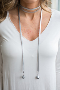 Leather and Pearl Wrap Necklace - Silver - FINAL SALE