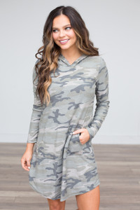 Camouflage Hooded Dress - Olive - FINAL SALE