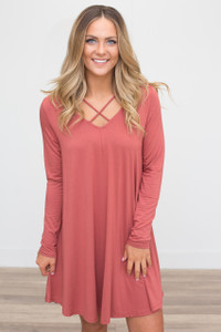 V Neck Strap Long Sleeve Dress - Brick - FINAL SALE
