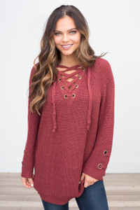 Lace Up Sweater - Scarlet