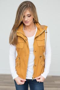Hooded Zipper Utility Vest - Mustard - FINAL SALE