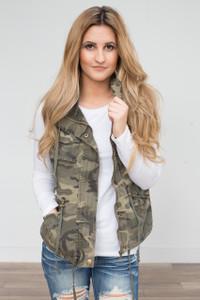Hooded Zipper Utility Vest - Camouflage - FINAL SALE
