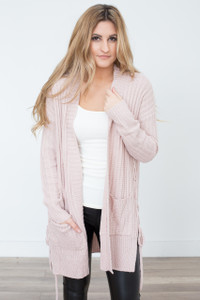 Side Lace Up Cardigan - Dusty Pink - FINAL SALE