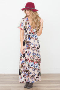 Floral Wrap Front Maxi Dress - Taupe - FINAL SALE