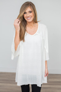 Textured Contrast Tunic - Off White - FINAL SALE