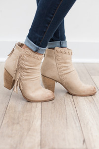 Not Rated: Angie Side Fringe Bootie - Cream - FINAL SALE