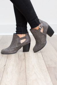 Perforated Buckle Bootie - Grey - FINAL SALE