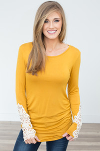 Crochet Sleeve Ruched Knit Tunic - Mustard - FINAL SALE