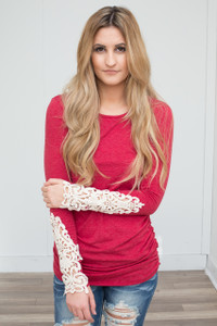 Crochet Sleeve Ruched Knit Tunic - Scarlet Red - FINAL SALE