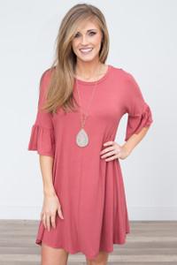 Bell Sleeve Solid Dress - Brick - FINAL SALE