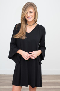 Bell Sleeve V Neck Dress - Black - FINAL SALE