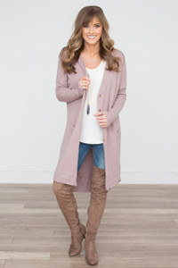 Button Down Long Pocket Cardigan - Taupe - FINAL SALE