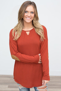 Lace Up Back Elbow Patch Tunic - Rust - FINAL SALE