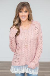 Lace Hem Cable Knit Sweater - Pink - FINAL SALE