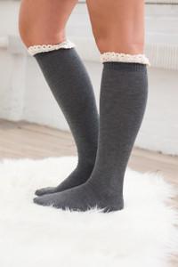 Ruffle Boot Socks - Charcoal - FINAL SALE