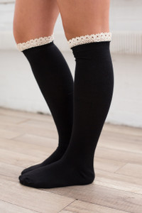 Ruffle Boot Socks - Black - FINAL SALE