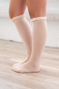 Ruffle Boot Socks - Nude - FINAL SALE