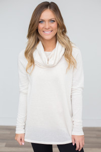 French Terry Cowl Neck Pullover - Ivory