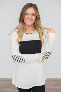 Striped Elbow Patch Sweater - Ivory/Black - FINAL SALE