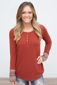 Printed Sleeve Button Front Top - Rust - FINAL SALE