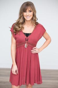 Short Sleeve Crochet Detail Dress - Brick - FINAL SALE