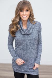 Cowl Neck Drawstring Sweatshirt - Heather Navy - FINAL SALE