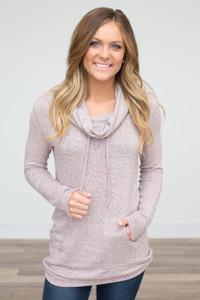 Cowl Neck Drawstring Sweatshirt - Heather Mauve - FINAL SALE