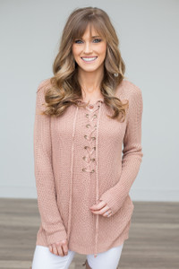 Light Weight Lace Up Sweater - Pink Beige - FINAL SALE