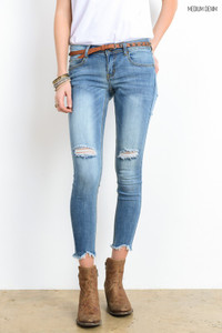 Frayed Edge Ankle Skinny Jeans - Medium Wash - FINAL SALE