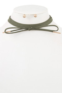 Faux Suede Wrap Choker - Olive - FINAL SALE