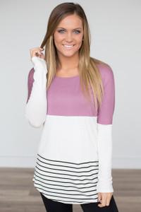Crochet Back Colorblock Striped Tunic - Mauve - FINAL SALE