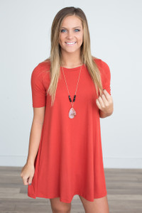 Solid Short Sleeve Dress - Rust - FINAL SALE