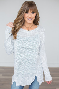 Split Front Light Weight Sweater - Grey/White - FINAL SALE