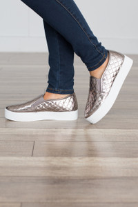 Quilted Stacked Sneaker - Gunmetal