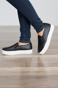 Quilted Stacked Sneaker - Black