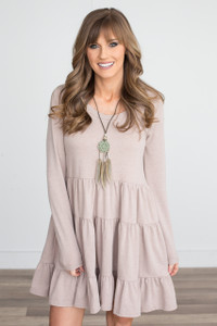 French Terry Tiered Ruffle Tunic Dress - Beige